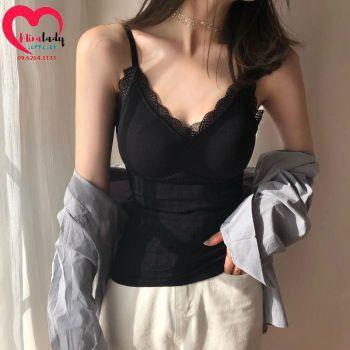 Áo 2 dây đệm ngực đẹp màu đen chất thun cotton mềm mượt