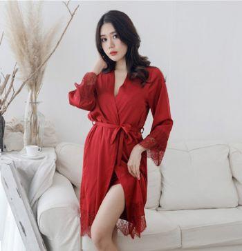Áo Choàng Ngủ Dài Chất Lụa Satin Loại 1- Màu Đỏ
