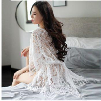 Full sét áo choàng ngủ nữ dài- Màu Trắng